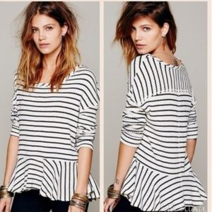 We The Free Auntie Em Striped Peplum Thermal Top